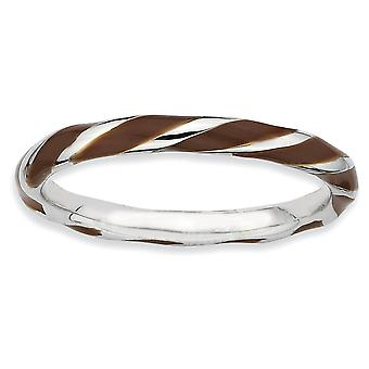 925 Sterling Silver Polished Twisted Brown Enameled 2.4 x 2.0mm Stackable Ring Jewelry Gifts for Women - Ring Size: 5 to