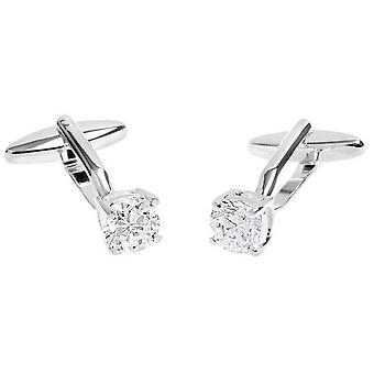 David Van Hagen Shiny Crystal Clasp Cufflinks - Silver/Clear