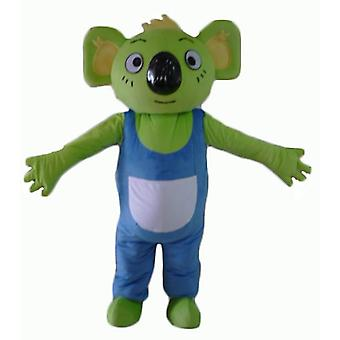 SPOTSOUND of green koala mascot, with blue and white overalls