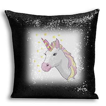 i-Tronixs - Unicorn Printed Design Black Sequin Cushion / Pillow Cover with Inserted Pillow for Home Decor - 6