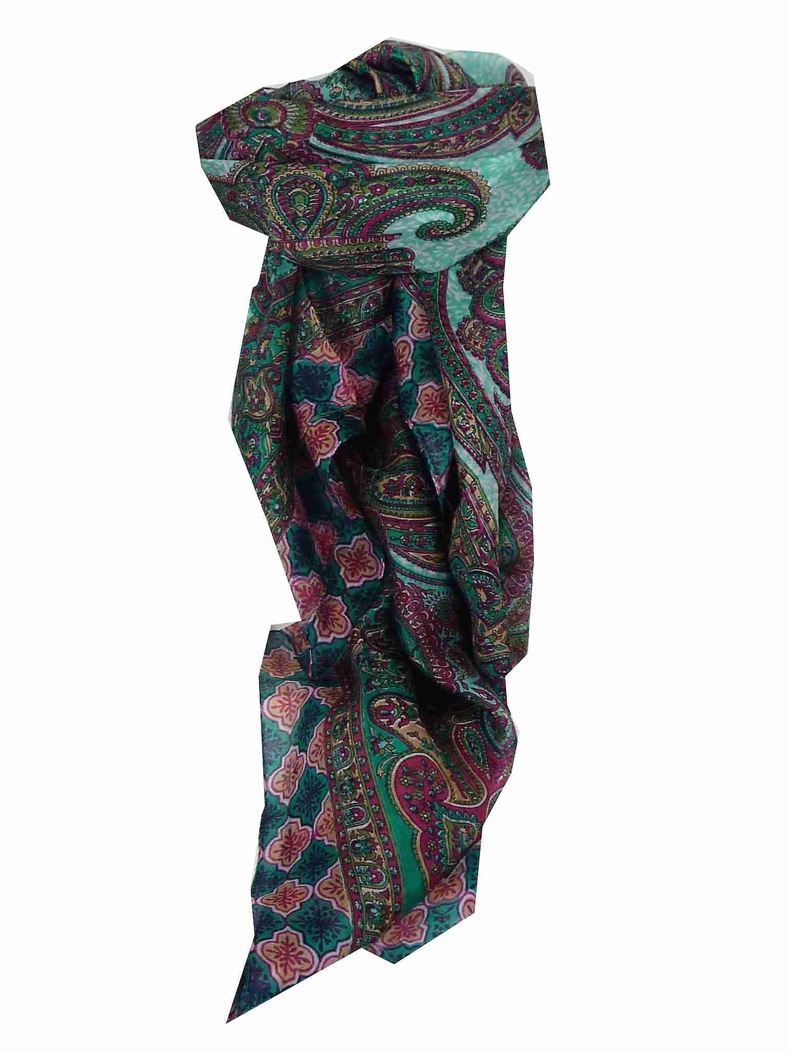 Mulberry Silk Traditional Square Scarf Bibi Teal by Pashmina & Silk
