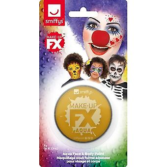 Smiffys Make-Up FX, Metallic Gold, Aqua Face and Body Paint, 16ml, Water Based