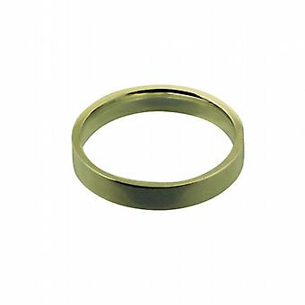 18ct Gold 4mm plain flat Court shaped Wedding Ring Size Z