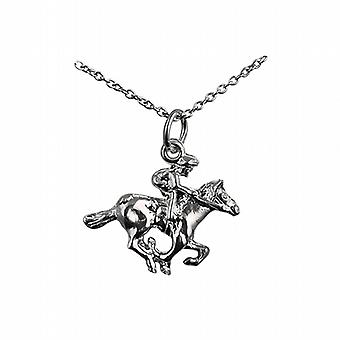 Silver 17x21mm galloping Horse and Jockey Pendant with a rolo Chain 24 inches