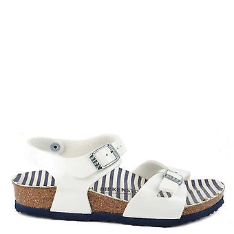 Birkenstock Rio White morskie paski sandały