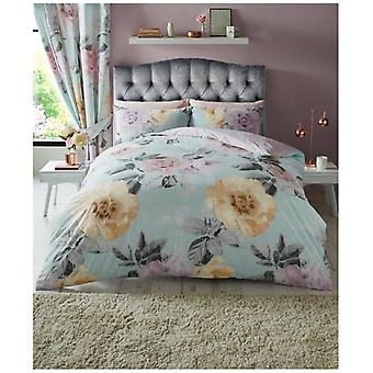 Clara Flowers Printed Duvet Quilt Cover Modern Floral Reversible Bedding Set