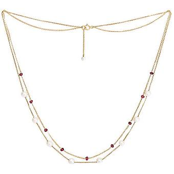 Pearls of the Orient Fine Double Chain Freshwater Pearl and Garnet Necklace - Red /White/Gold