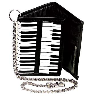 Piano / Keyboard Design Tri-Fold Chain Wallet