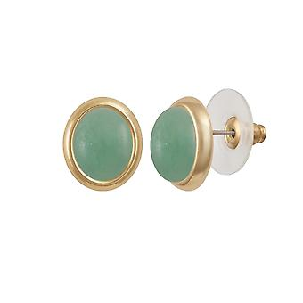 Eternal Collection Minuet Chinese Amazonite Gold Tone Stud Pierced Earrings