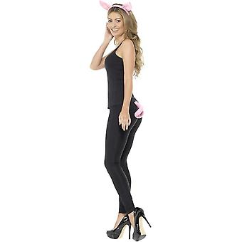 Adult Pig Kit Pink with Headband & Tail, Party Animals Fancy Dress