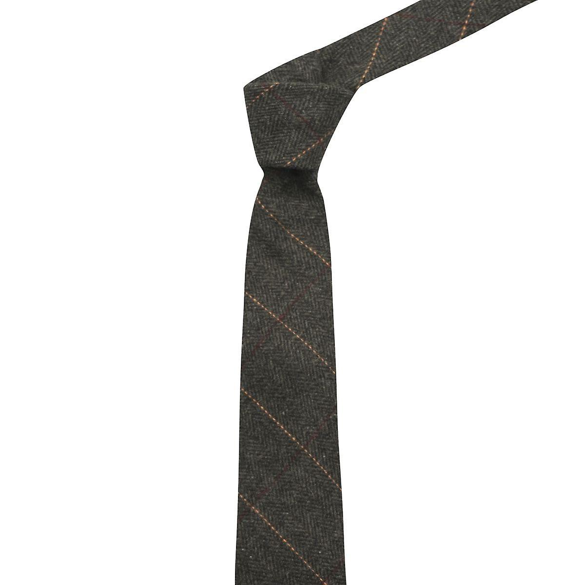 Luxury Herringbone Charcoal Grey Tweed Tie, Mens Necktie