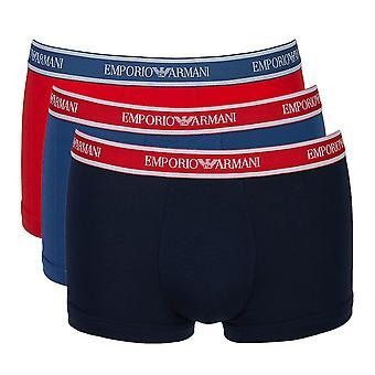 Emporio Armani Fashion Multipack Cotton Stretch 3-Pack Trunk, Cobalt / Red / Marine, Medium