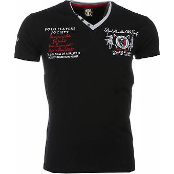 E T-shirt - Short Sleeves - Embroidery Polo Players - Black