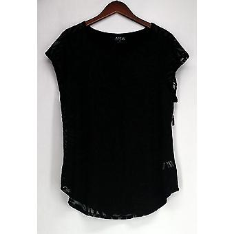 Apt. 9 Plus Shear Front Pattern Tunic Black Womens