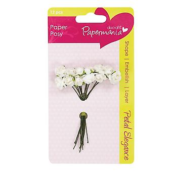 DoCrafts White Rose Petal Posy Pack Of 12