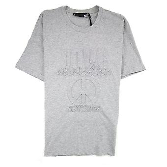 Love Moschino En relieve paz Logo camiseta gris