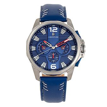 Morphic M82 Series Chronograph Leather-Band Watch w/Date - Argent/Bleu