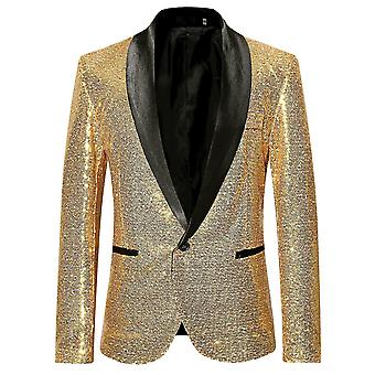 Allthemen Men's Fashion Sequin Casual Blazer Wediing Celebration Suit Giacca