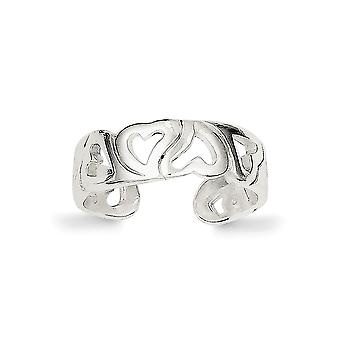 925 Sterling Silber solide poliert Laser geätzt Liebe Herz Zehe Ring Schmuck Geschenke für Frauen