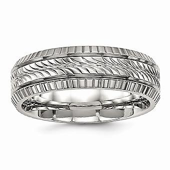 6mm Stainless Steel Polished Grooved and Textured Ring Jewelry Gifts for Women - Ring Size: 7 to 13