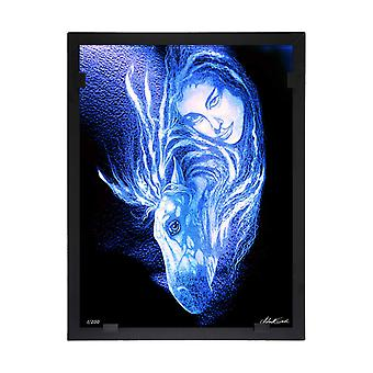 Glass vision-painting-art glass-woman with horse Designer Astrid Gate