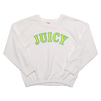 Juicy Girls Juicy Couture Applique Sweat In White- Ribbed Waistband, Cuffs And