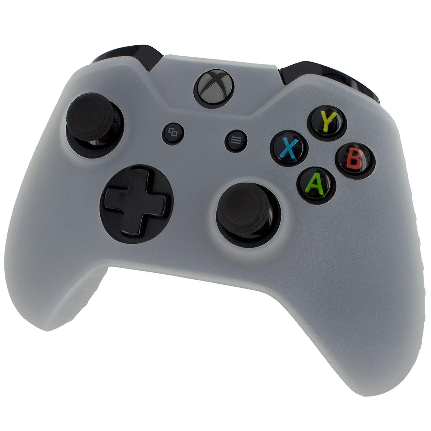 Soft silicone rubber skin grip cover for xbox one controller with ribbed handle - semi clear