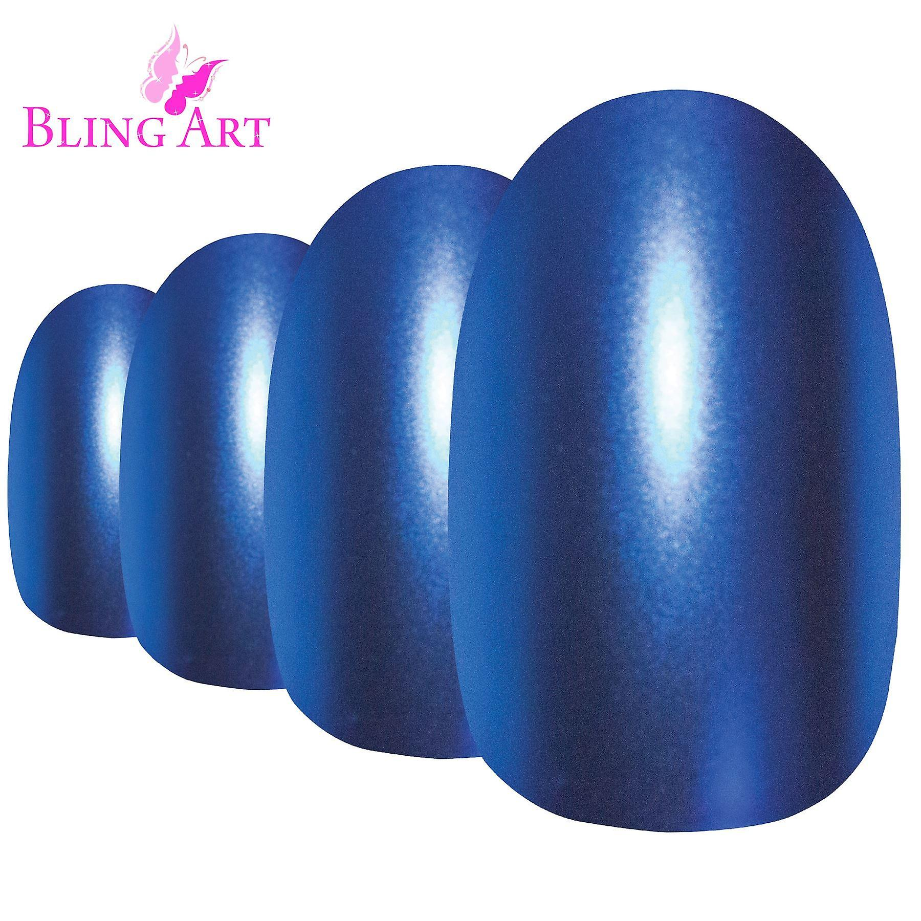 False nails by bling art blue matte metallic oval medium fake acrylic tips glue
