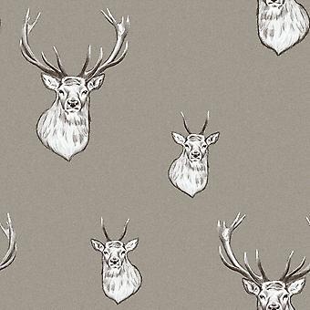 Catherine Lansfield Stag Wallpaper Seta Muriva 165512