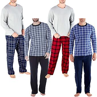Harvey James Mens Check Langarm Thermal Fleece warm PJ Pyjama Top Unten Set