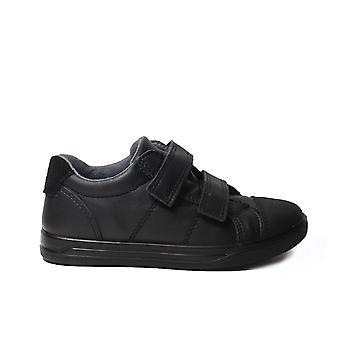 Ricosta Jason Negro Cuero Niños Rip Tape Trainer School Zapatos