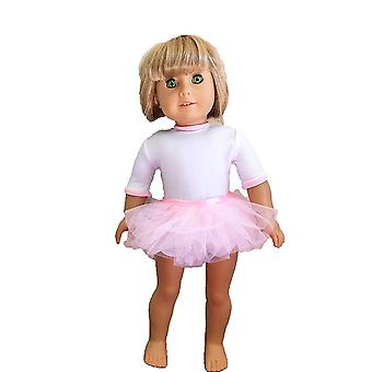 "18"" Doll Clothing White Dance Leotard With Pink Skirt"