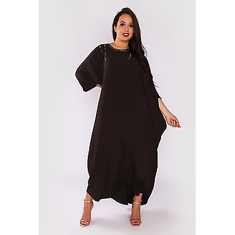 Kaftan raphaella oversized long sleeve full-length round neck maxi dress in black