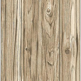 Wide Plank Wallpaper Wood Panel Effect Brown Beige Rustic Non-Woven Fine Decor
