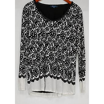 Kelly par Clinton Kelly Women-apos;s Top Printed Lace Jersey Top Black A283504