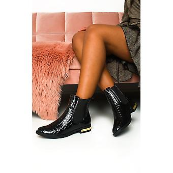 IKRUSH Womens Laila Croc Print Patent Ankle Boots