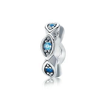 Sterling silver spacer Lucky blue eye