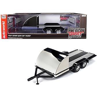 Four Wheel Open Car Hauler Trailer Black for 1/18 Scale Models by Autoworld