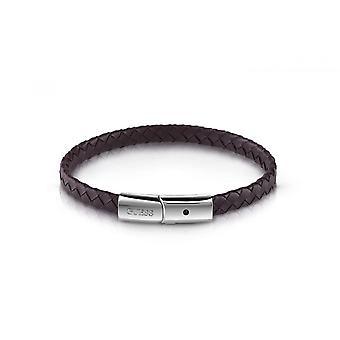 MÄN i GUESS UMB78018 gissa armband - armband lås brunt läder stål mannen