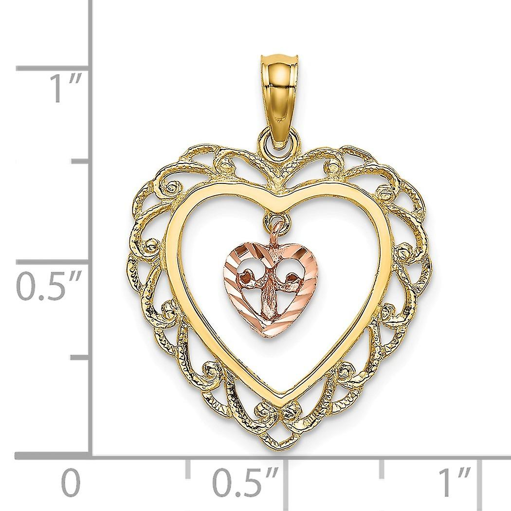 18mm 14k Two tone Gold Pink Sparkle Cut Love Heart Pendant Necklace Dangling In Scallop Heart Jewelry Gifts for Women