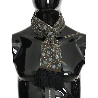 Dolce & Gabbana Green Silk Floral Print Scarf