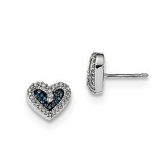 925 Sterling Silver Gift Boxed Rhodium verguld blauw en wit Diamond Love Heart Post Oorbellen Sieraden Geschenken voor vrouwen