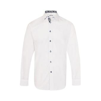 JSS Plain White Regular Fit Shirt With Blue Paisley Trim
