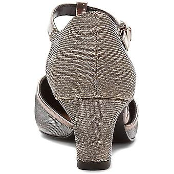 Ros Hommerson Womens Heidi Leather Round Toe T-Strap Classic, Silver, Size 7.0