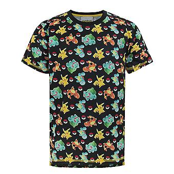 Pokemon T-shirt for Boys Starters Sublimation Black Kids Top