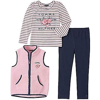 Tommy Hilfiger Girls' Toddler 3 Pieces Vest Pant Set, Cherry Blossom/Peacoat,...