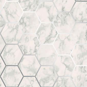 Metro Hexagon Marble Wallpaper Silver Crown M1505