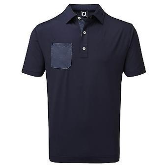 Footjoy Mens Stretch Pique With Neat Print Trim Golf Polo Shirt