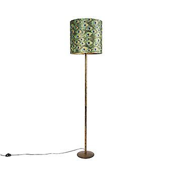 QAZQA Vintage floor lamp gold with peacock shade 40 cm - Simplo