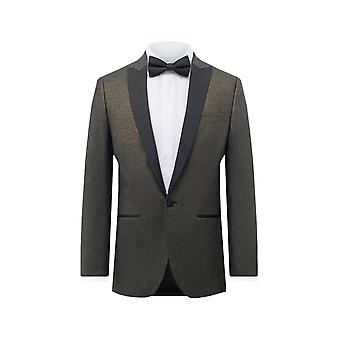 Dobell Mens Gold Shimmer Kurtka Smoking Regular Fit Contrast Peak Lapel